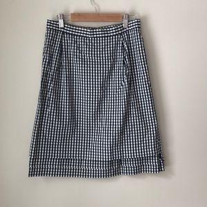 United Arrows Navy Gingham Skirt